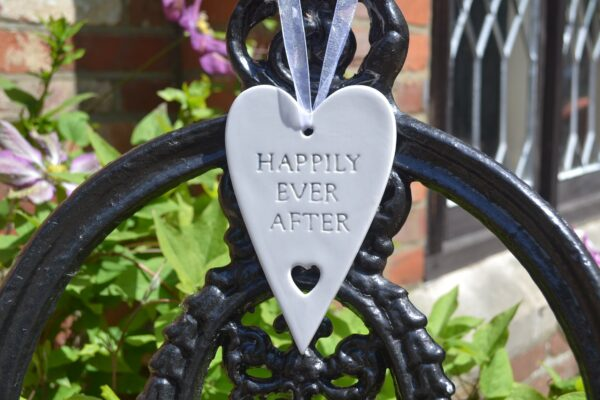 happily ever after ceramic heart