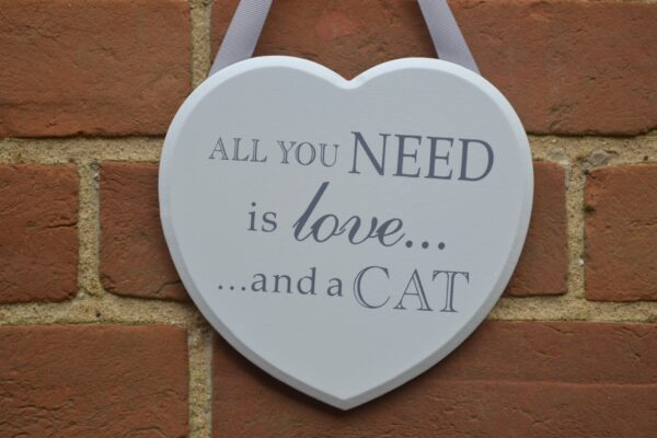 love and cat plaque