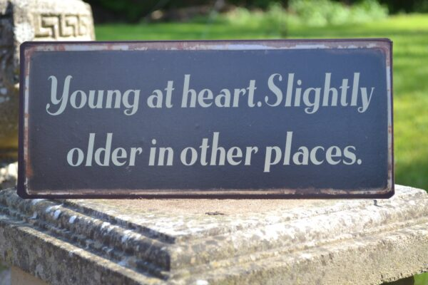 young at heart metal sign