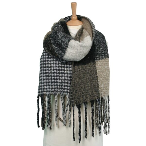 reversible check dog tooth blanket thick scarf