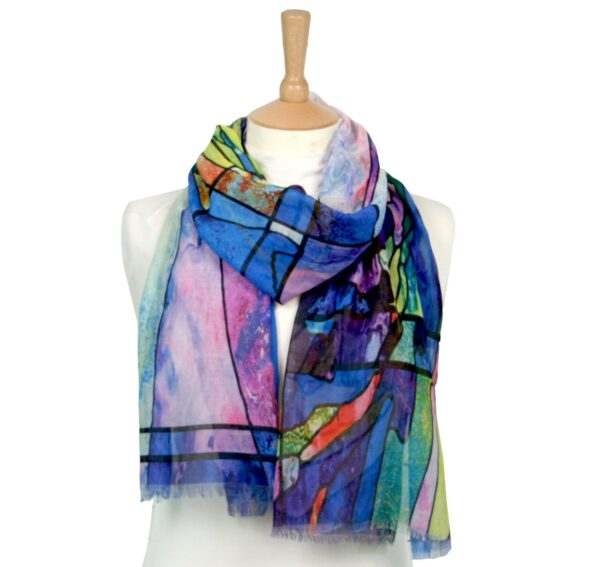 stained glass window scarf blue
