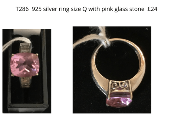 TLR 14 925 ring pink glass stone