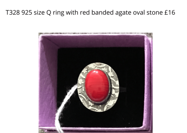 TLR 14 925 ring with banded agate stone