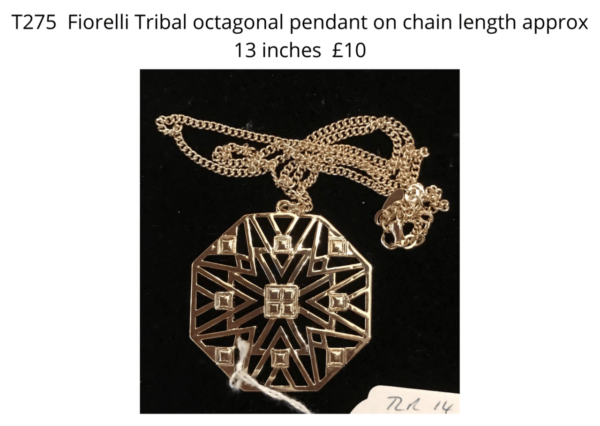 TLR 14 Fiorelli octagonal tribal pendant on chain