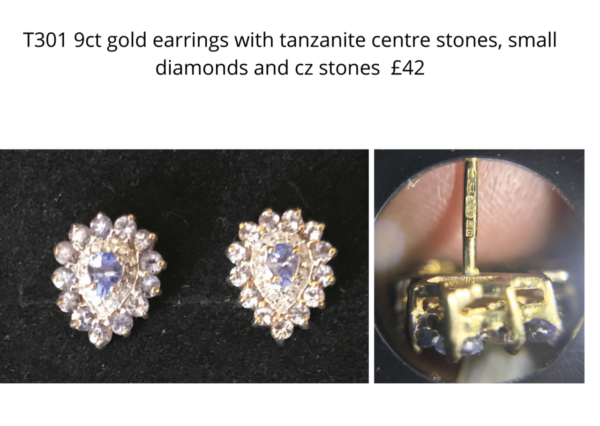 TLR 14 gold tanzanite and diamond earrings