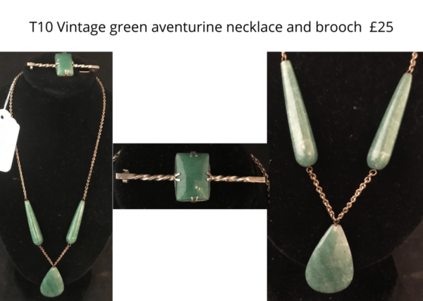TLR 14 green aventurine necklace and brooch