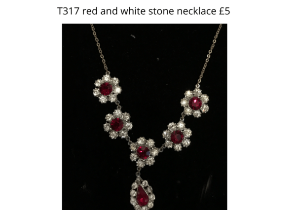 TLR 14 T317 red and white stone necklace