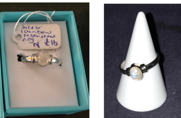 TLR 14 T341 silver rainbow moonstone ring size N e1604664730899