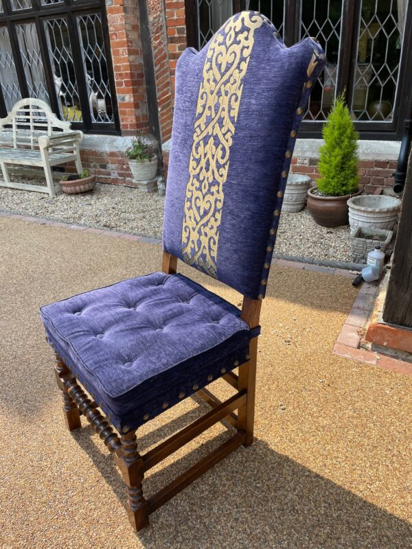 oak and upholstered dining chair 1a rotated