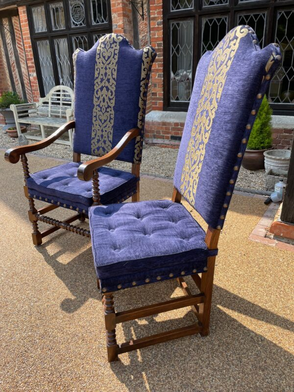 oak and upholstered dining chairs 1d rotated