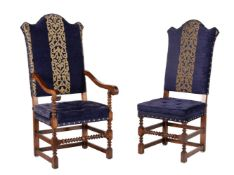 Set of 8 Oak and Navy Blue Upholstered Dining Chairs